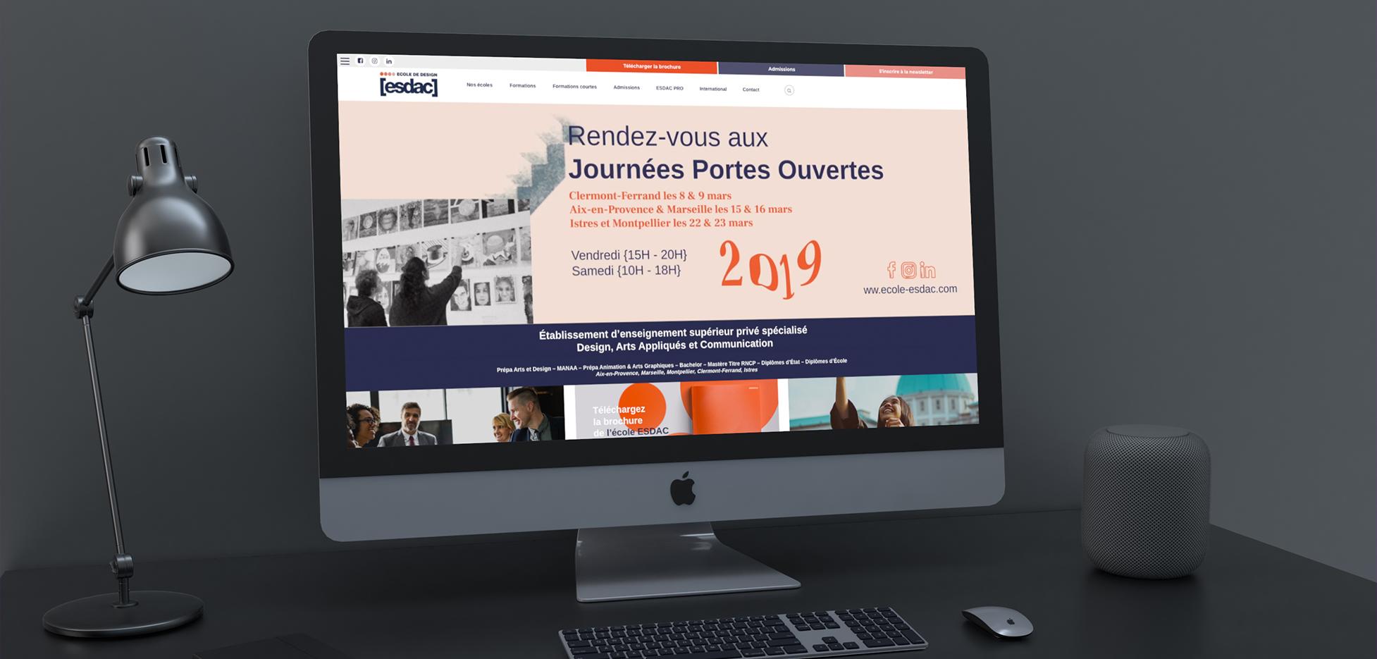 Site Internet de l'école de design ESDAC à Aix-en-provence et marseille