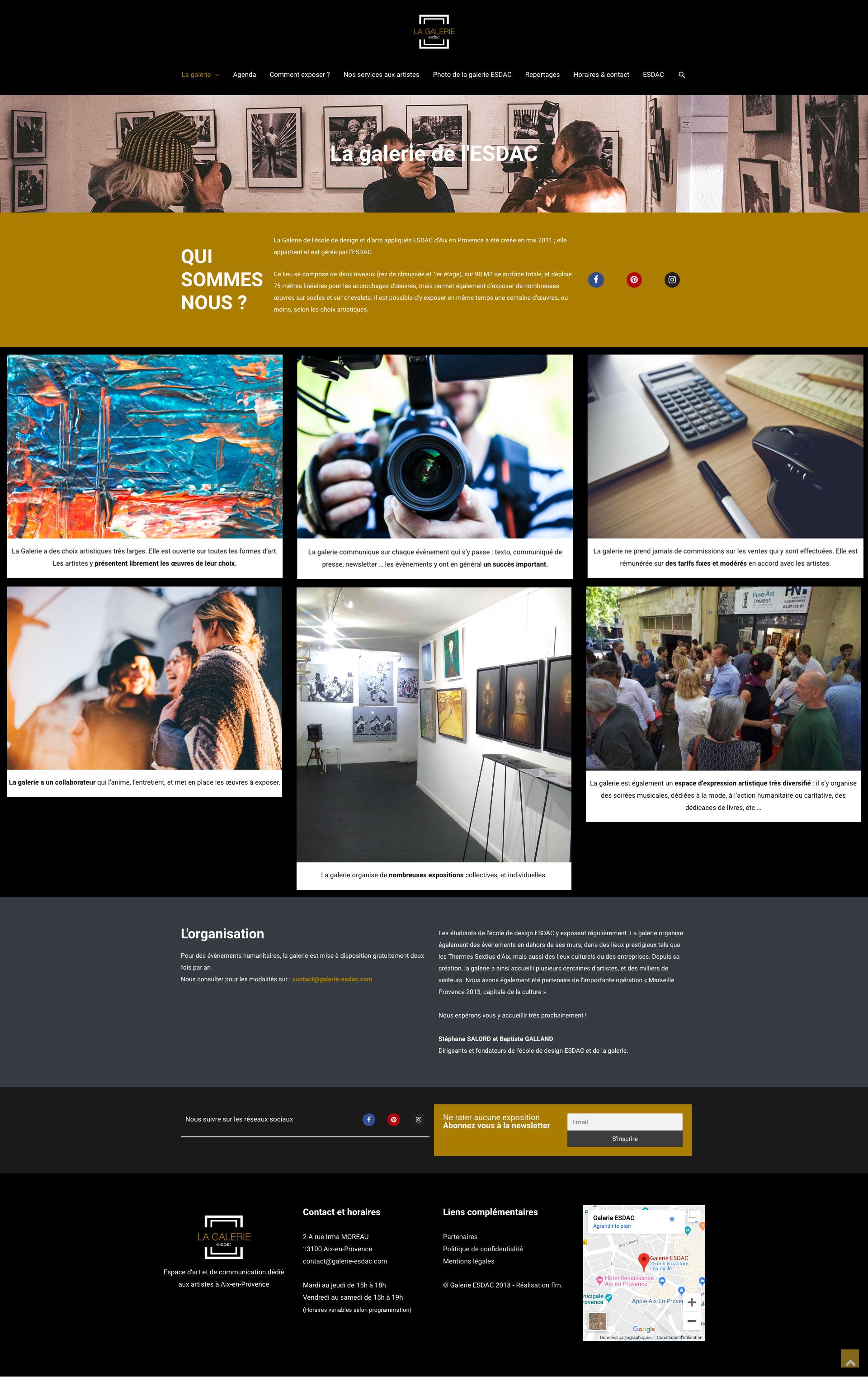 Page qui sommes-nous aux artistes du site web de la galerie d'art ESDAC Aix