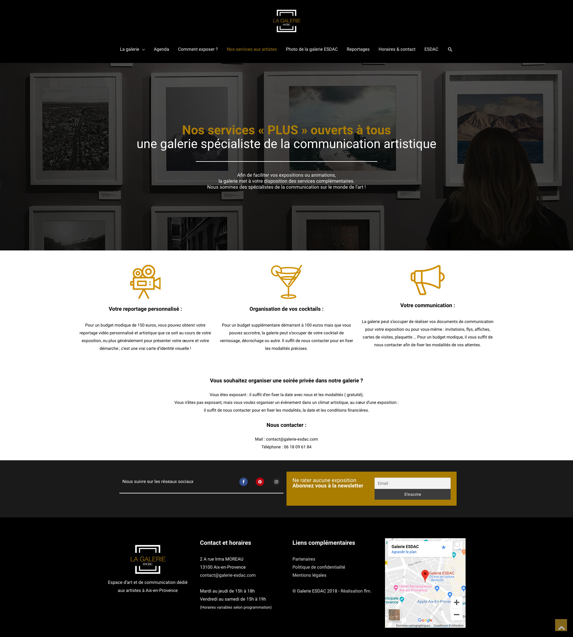 Page des services aux artistes du site web de la galerie d'art ESDAC Aix