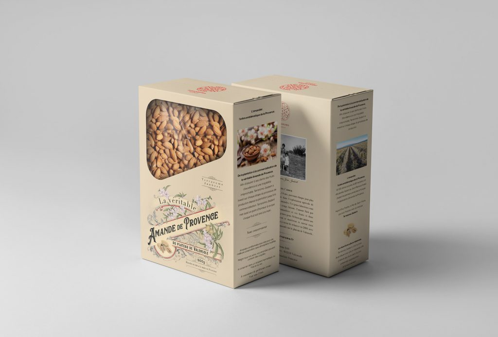Amande de provence, design de packaging par Maurin Armand